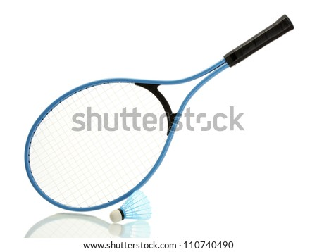 Badminton racket and shuttlecock isolated on white