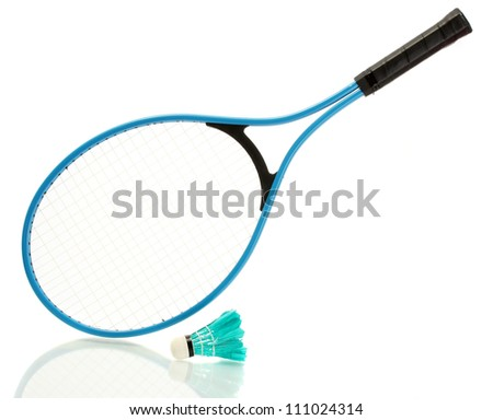Badminton racket and shuttlecock isolated on white - stock photo