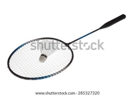 Badminton racket and shuttlecock isolated on white background - stock photo