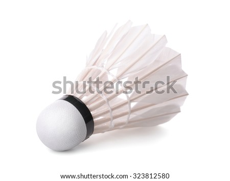 Badminton shuttlecock isolated on white - stock photo