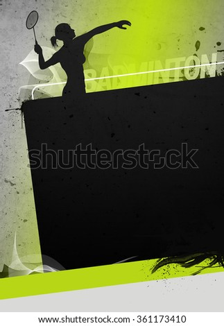 Badminton sport invitation poster or flyer background with empty space. The character is a 3D rendered model, no real person.