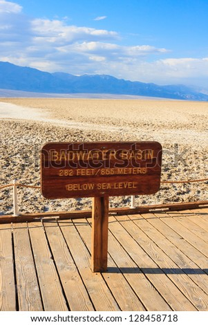 Badwater Basin is the the lowest point in North America, Death Valley National Park, California, USA - stock photo
