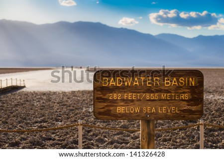 Badwater Basin Sign in Death Valley National Park, California, USA - stock photo