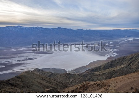 Badwater basin view (vista) from Dante's View - stock photo