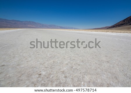 Badwater in Death Valley National Park in late afternoon