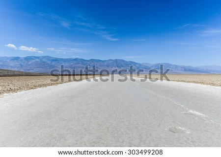 Badwater Point, Death Valley, USA. Salt road in the middle of the desert. One of the hottest places on the planet.