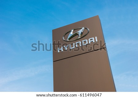 BAESWEILER, GERMANY MARCH, 2017: Logotype of Hyundai corporation on pillar against blue Sky.  Hyundai is the South Korea's automotive manufacturer.