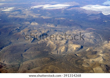 Baffin Island, Nunavut, Canada- aerial view from 12000 metrers - stock photo