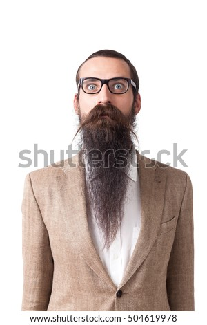 Long beard stock images royalty free images vectors shutterstock baffled man wearing glasses and long beard is standing against white background concept of eccentric urmus Gallery