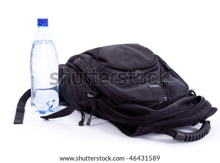 Bag and bottle on a white background - stock photo