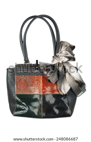 Bag  and scarf isolated on white background. Female accessory black.