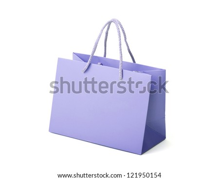 Bag as a gift. Paper bag on white background. Close Up. - stock photo