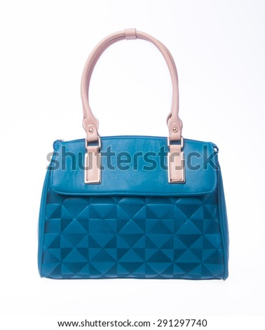 bag. blue colour fashion woman bag on a background - stock photo