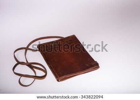 Bag for maps  on a white background in studio - stock photo