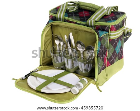 bag for picnic with plate, fork, journey, wineglass, cup, spoon
