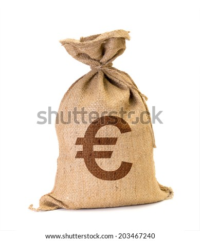 Bag from Euro isolated on a white background. - stock photo