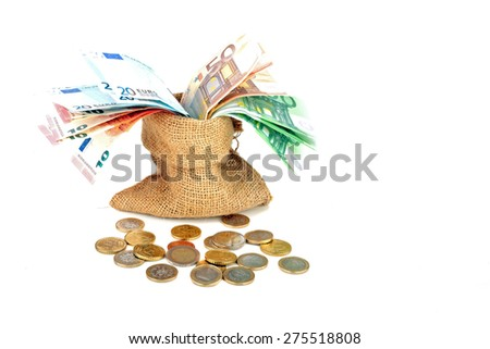 Bag full of euro money notes and coins on a white background - stock photo