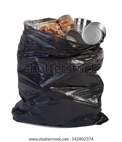 Bag full of garbage - stock photo