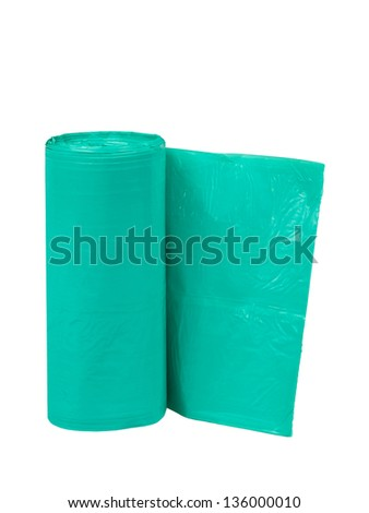 Bag garbage roll isolated on white background - stock photo