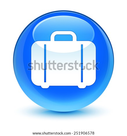 Bag icon glassy blue button - stock photo