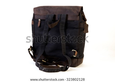 bag made of mixed material leather and canvas exclusively for youth isolated on white background available with clipping mask