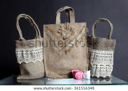 bag made out of natural eco recycled Hessian sack - stock photo