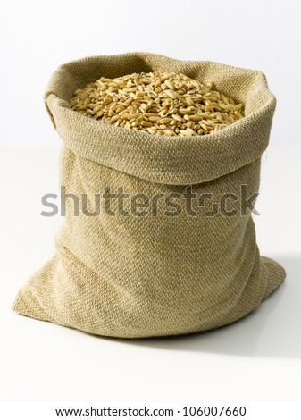 Bag of burlap filled with cereal. - stock photo