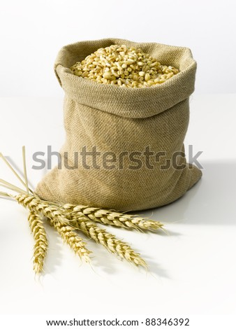 Bag of burlap filled with cereal and with wheat in front of it - stock photo