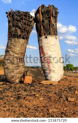 Bag of charcoal along the road in africa - stock photo