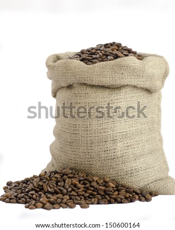 bag of coffee beans isolated on white background - stock photo