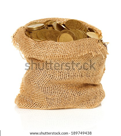 Bag of coins isolated - stock photo