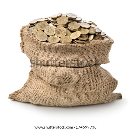 Bag of coins isolated on a white background - stock photo