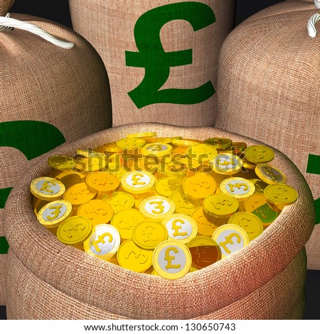 Bag Of Coins Showing British Prosperity And Economy