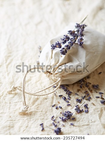 Bag of dried lavender (close up) - stock photo