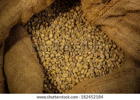 bag of green coffee  - stock photo