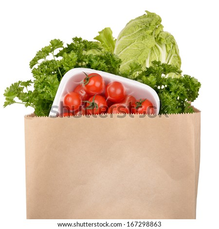 Bag of groceries isolated on white background