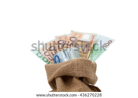 Bag of money with different euro bills isolated in studio shot on white background and have clipping path, - stock photo