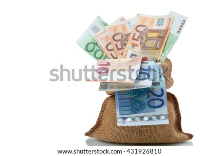 Bag of money with different euro bills isolated in studio shot on white background. have clipping path.