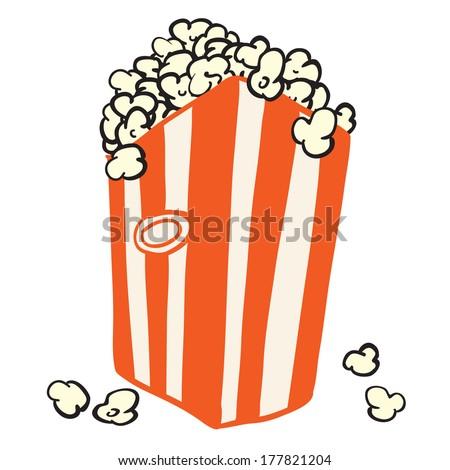 bag of popcorn isolated on white - stock photo