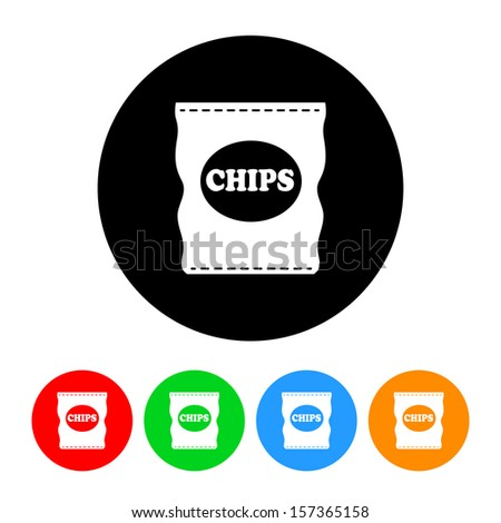 Bag of Potato Chips Icon with Color Variations.  Raster version. - stock photo