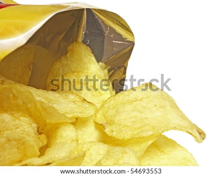 Bag of Potato Chips,isolated on white with clipping path - stock photo