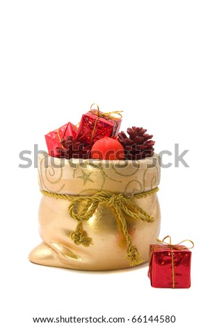 bag of Santa Claus with gifts and toys isolated on white background - stock photo