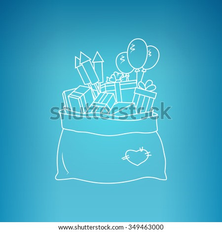 Bag of Santa Claus with Gifts on a Blue Background, a Bag with Gifts and Firecrackers and Balloons, Drawing in Linear Style  - stock photo