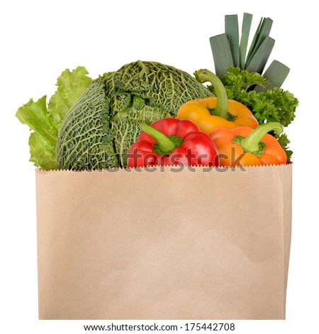 Bag of vegetables isolated on white background