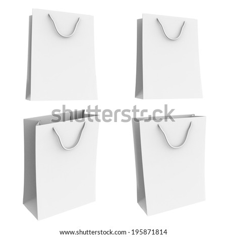 Bag paper bag Carrier plastic White.  Isolated On White background 3d.Easy editable for your design.
