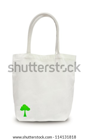 Bag to reduce global warming and green tree on black shadow.