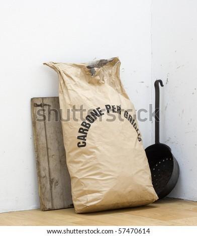 Bag with coal - stock photo