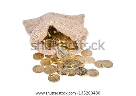 Bag with coins on white background. - stock photo