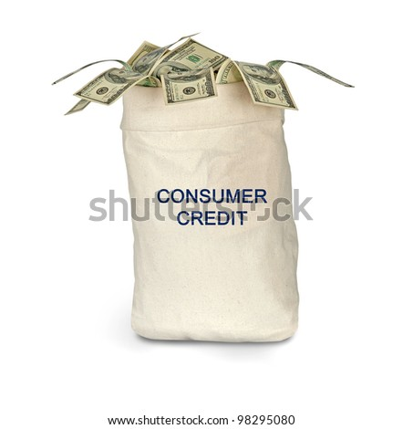 Bag with consumer credit