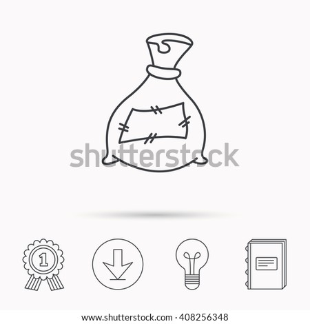 Bag with fertilizer icon. Fertilization sack sign. Farming or agriculture symbol. Download arrow, lamp, learn book and award medal icons. - stock photo